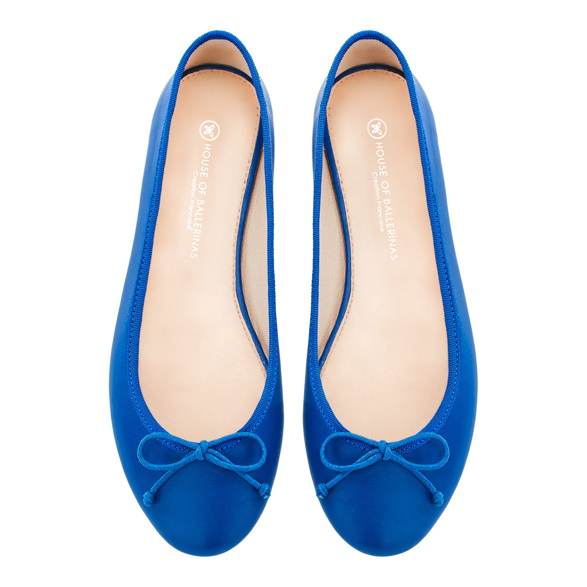 08009506c House of Ballerinas, Ballet Flats Louise Blue shiny patent